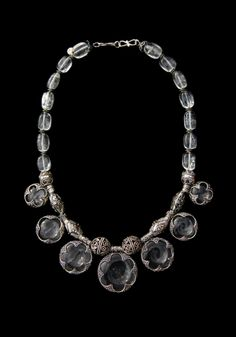 Silver and rock crystal necklace from Gotland, ca. Unknown. Lovely craftsmanship like this was usually a product of trade between the Scandinavians and the Franks (if I remember correctly, I'm a tad rusty).