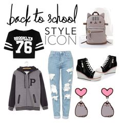 """#PVxPusheen (School)"" by dreamlaughkisscry on Polyvore featuring Pusheen, Topshop, Boohoo, contestentry and PVxPusheen"