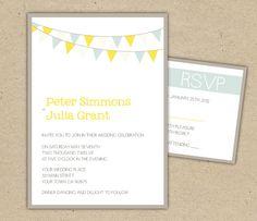 Wedding Invitation DIY printable template bunting by Bejoyfulpaper, $28.00