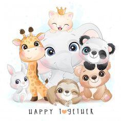 Baby Animal Drawings, Cute Cartoon Drawings, Cartoon Baby Animals, Jungle Animals, Cute Animal Illustration, Watercolor Illustration, Elephant Illustration, Lama Animal, Animals Watercolor