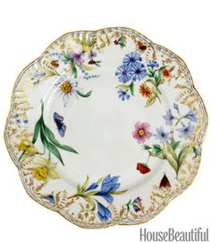 From a series that represents the four seasons, this plate is hand-painted in exquisite detail. Belles Saisons Winter Dinner Plate, $380, by Alberto Pinto. michaelcfina.com.