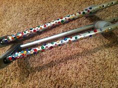 Decorated crutches! I used sequins and they are so sparkly!