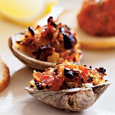 Clams Casino with Pancetta < Healthy Holiday Appetizers and Drinks Recipes - Cooking Light Holiday Appetizers, Healthy Appetizers, Appetizer Recipes, Healthy Snacks, Dinner Recipes, Party Appetizers, Holiday Meals, Party Recipes, Party Nibbles