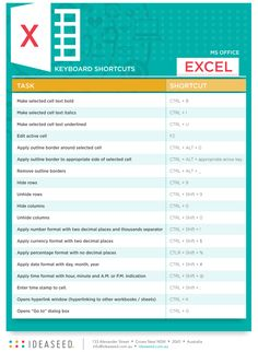 IDEASEED'S MS OFFICE SHORTCUTS: EXCEL  We know what it's like when you want a MS Office keyboard shortcut, but just can't remember what it is. We're here to help you so we've created a handy list of the most useful shortcuts. Today, we're covering MS Office Excel, but we also have a great list for MS Office Word hereand one for Powerpoint coming up soon. FREE DOWNLOAD! #MSshortcuts