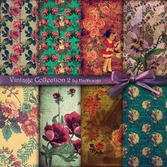 "VINTAGE COLLECTION 2 - Beautiful Vintage Retro Digital Paper Pack - Scrapbook Paper, Decoupage Paper, Printable - 8 Papers (12x12"" - 300DPI)"