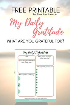 """Getting lost in the grind of life, we can sometimes forget to recognize the little things that bring us happiness. It is up to you to make the choice to look past the negative thinking. Get your FREE """"My Daily Gratitude"""" printable worksheet! #grateful #happiness #happy #positivity #positivethinking #gratitude"""