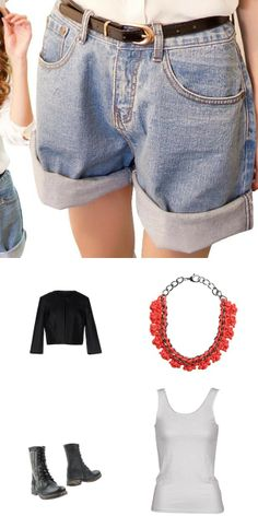 High rise jean shorts with tank top and lumberjack boots