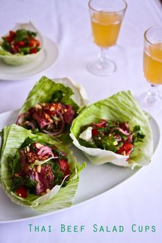 thai beef salad lettuce cups - turns that yummo salad into an easy dinner party canapé :)