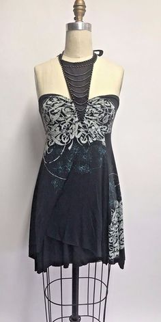 Free People Halter Collar Open Back Beaded Printed Sun Dress Black - S #FreePeople #Sundress #SummerBeach
