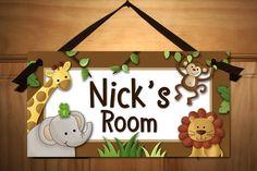 Jungle Safari Animals in Brown Babies Bedroom Nursery Kids DOOR SIGN Wall Art. $14.00, via Etsy.