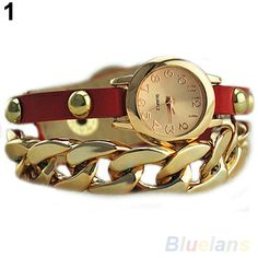 Aliexpress.com : Buy Women's Punk Golden Dial Faux Leather Chain Analog Quartz Bracelet Wrist Watch Watches from Reliable watch holder suppl...