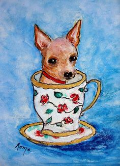 Back to Robin Monroe | Art > Paintings > Teacup Chihuahua Paintings