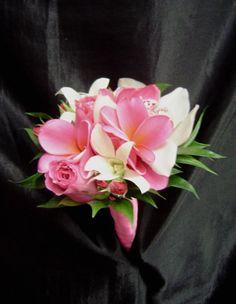"""4-5"""" POSEY PINK ROSE & PLUMERIA, WHITE CYMBIDIUM FROM"""