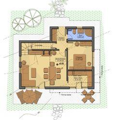 Parter casa de 70 mp A Frame House Plans, 2 Storey House, Design Case, Image House, Sweet Home, Floor Plans, How To Plan, Architecture, House Styles