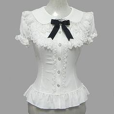Candy Princess White Chiffon korte mouw Sweet Lolita blouse 1386592 2016 – €22.33