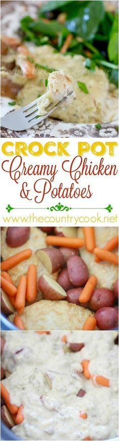 Crock Pot Creamy Chicken and Potatoes recipe from The Country Cook. The chicken is smothered in the most amazing sauce!! The little potatoes are so yummy in this! One of my new favorite slow cooker recipes!