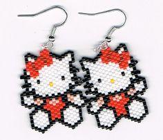 Main perlés Bright Orange Hello Kitty boucles par beadfairy1, $12.00