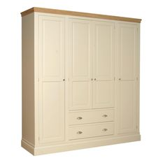 Lundy Quad Wardrobe with Two Drawers (LW90) - Wardrobes - Buy Pine, Oak, Painted and Bespoke Furniture - Pine Shop Bury