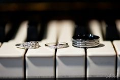 black and white #wedding inspiration - a fine art photo of the wedding rings on black and white piano keys