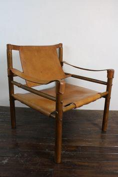 Arne Norell Sirocco tan leather safari chair