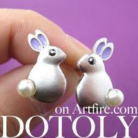 Stainless Steel Fat Bunny Rabbit Animal Stud Earrings with Purple Ears