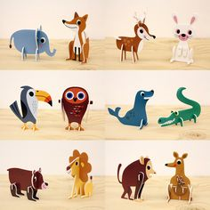 krone: OMM-design Animal Parade animal parade puzzle in galley ant older brother Usu design Cardboard Animals, Cardboard Toys, Paper Animals, Paper Toys, Projects For Kids, Diy For Kids, Art Projects, Crafts For Kids, Origami