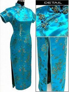 dfcfea3c50af9 Lake Blue Chinese Traditional Dress Women Satin Qipao Dragon Phenix Long  Cheongsam Plus Size S M L