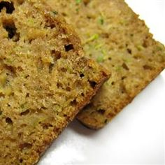 So moist and delicious.  Great use of our summer Zucchini from the garden!  Mom's Zucchini Bread Allrecipes.com