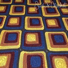 Dekoplus Squares Blanket By Suvi Geary - Free Crochet Pattern - (ravelry) Crochet Home, Crochet Yarn, Free Crochet, Crochet Wraps, Modern Crochet Blanket, Crochet Throw Pattern, Afghan Crochet Patterns, Fabric Patterns, Crochet Afghans