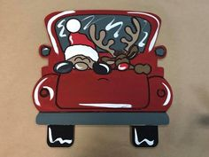New Christmas Truck, Unfinished Wood Cutout, Paint by Line Christmas Truck, Christmas Door, Christmas Time, Christmas Ideas, Christmas Crafts, Wooden Cutouts, Wooden Shapes, Wooden Door Hangers, Wooden Doors