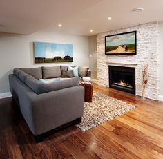 natural stone fireplace with tv - contemporary - family room - portland - Realstone Systems