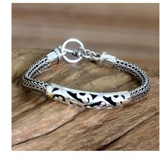 Novica Balinese Finesse Ornate Indonesian Fretwork ID Style Bracelet with Toggle Clasp in 925 Sterling Mens Bracelet
