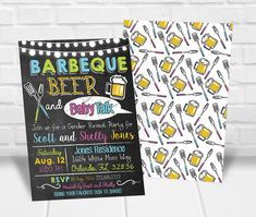 BBQ Beer and Baby Talk Gender Reveal Invitation Personalized Invitations, Printable Invitations, Shelly Jones, Quick Print, Gender Reveal Party Invitations, Reveal Parties, Bbq, Baby Shower, Barbecue