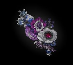 Carnet - Enchanting Blooms Brooch. White and black diamond, rubellite, amethyst and precious stones brooch set in 18K white gold and titanium
