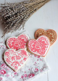 Decorated Valentine Heart Cookies Tutorial