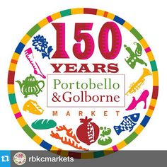 Portobello and Golborne Markets are 150 years old this year. Loving the new design to mark the occasion. My husband can remember back when he was a child, the north side of Portobello Road, where the stalls start today, there being a farm and open countryside. Not quite 150 years ago but amazing how things have changed.  #pogo150