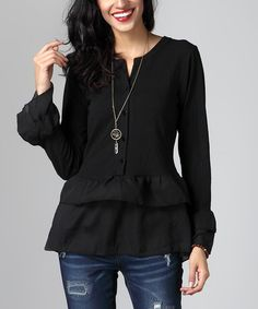Look what I found on #zulily! Black Chiffon Ruffle-Hem Button-Front Top…