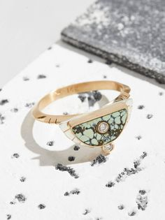14k Half Sol Double Diamond Ring | This stunning ring features a design with 14k gold bezel wrapped around inlaid peacock turquoise stone and shimmering diamonds set in 14k gold. * 14k gold band * American made