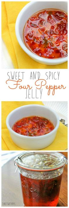 Spicy Four Pepper Jelly Sauce is a versatile condiment! You can use it with cream cheese as a dip, a coating for your crispy chicken wings, or smeared on your morning bagel for a hint of spice! Sweet and Spicy Four Pepper Jelly Sauce Recipe | Take Two Tapas