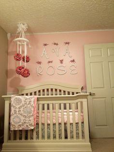 Pink & grey baby room