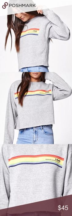 Brandy Melville John Galt USA's crew neck Brandy Melville John Galt USA's crew neck sweatshirt. Made from soft fleece, this gray, crew neck sweatshirt has a cropped cut, ribbed trimming, and a colorful graphic on front. One size fits most. NWOT Brandy Melville Sweaters Crew & Scoop Necks
