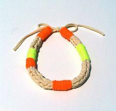 NEON Jewelry Necklace - Eco Fashion Jewelry - Braided ROPE Fabric - Orange/Green/Yellow - Upcycled T Shirt Yarn.