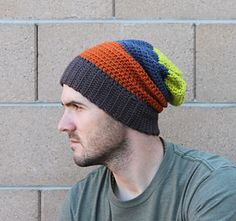 Crochet Pattern for the perfect Men's Slouchy Beanie.