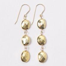 Gold Pyrite & Goldfill Earrings #gold #statement #allgold #goldjewelry #goldearrings #dangleearrings #chic #classic www.jewelya.com