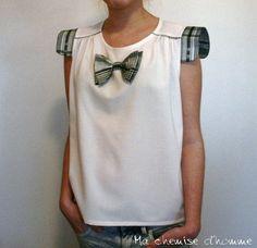 Refashion Inspiration: Little bow tie Top Julia  Linen & cotton   US 6 by machemisedhomme, €48.00