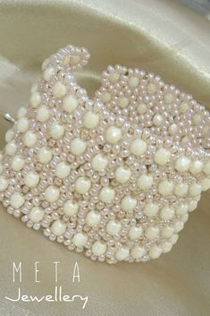Handmade wide beaded bracelet with ecru glass beads Bridal Jewelry, Beaded Jewelry, Beaded Bracelets, Wire Wrapped Jewelry, Wire Wrapping, Glass Beads, Etsy Seller, Jewels, Gemstones