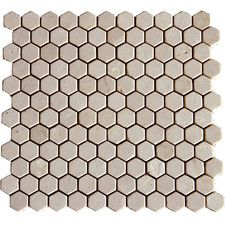 """1"""" x 1"""" Marble Mosaic Tile in Crema Marfil"""
