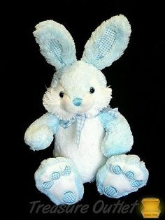 Inter-American Products Stuffed Plush Blue White Plaid Easter Bunny Rabbit 10in