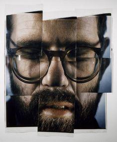 Chuck Close, art, photography, portraits, self-portrait composite in nine parts (1979 - polaroids)