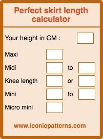 Ideal skirt length calculator iconicpatterns.com